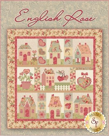 "English Rose Pattern: English Rose was designed by Jennifer Bosworth of Shabby Fabrics and is a darling 65"" x 68"" quilt that features appliqued cottages, hearts, pinwheels, ladybugs, umbrellas and so much more! This pattern includes step-by-step instructions and thorough diagrams so that you can complete this project with ease."