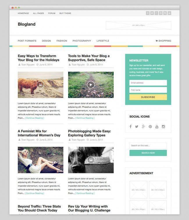 Blogland free wordpress theme | IT-inera | Pinterest | Wordpress