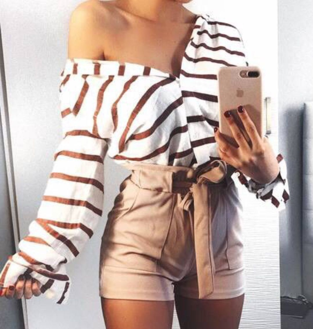 stripe button up off the shoulder top beige high waisted shorts