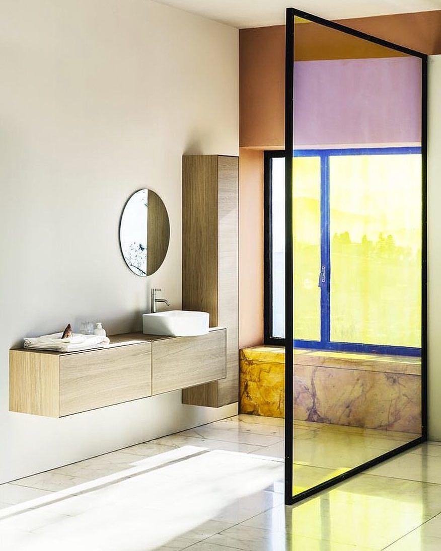 Elle decoration uk elledecorationuk on instagram filter coloredglass bathroomdesign elledecoration bathroomrenovations helenhughesarts also rh pinterest
