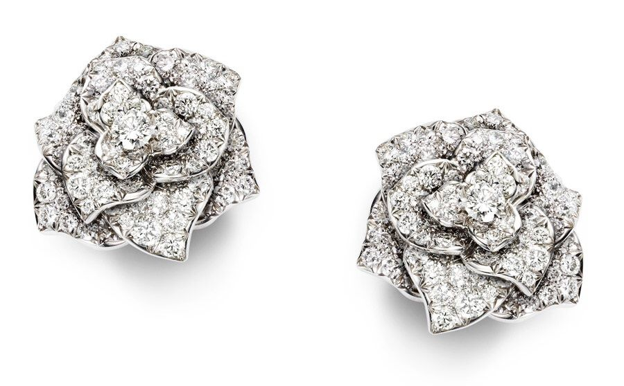 Piaget Rose Earrings In 18k White Gold Set With 126 Brilliant Cut Diamonds Rox 2 28 Cts