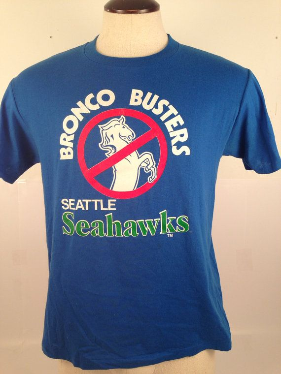 Bronco Busters Seattle Seahawks Tee Shirt Vintage by purevintageclothing