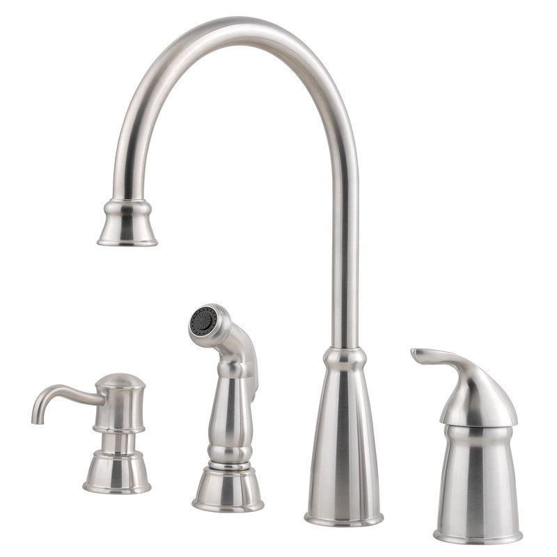 Pfister GT26 4CB Avalon High Arc Kitchen Faucet   Includes Sidespray  Stainless Steel Faucet Kitchen