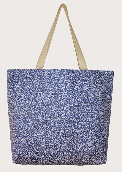 Maxi ecobag 100% algodão floral azul
