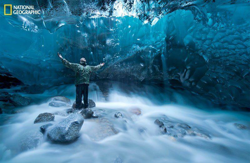 under a glacier in Alaska