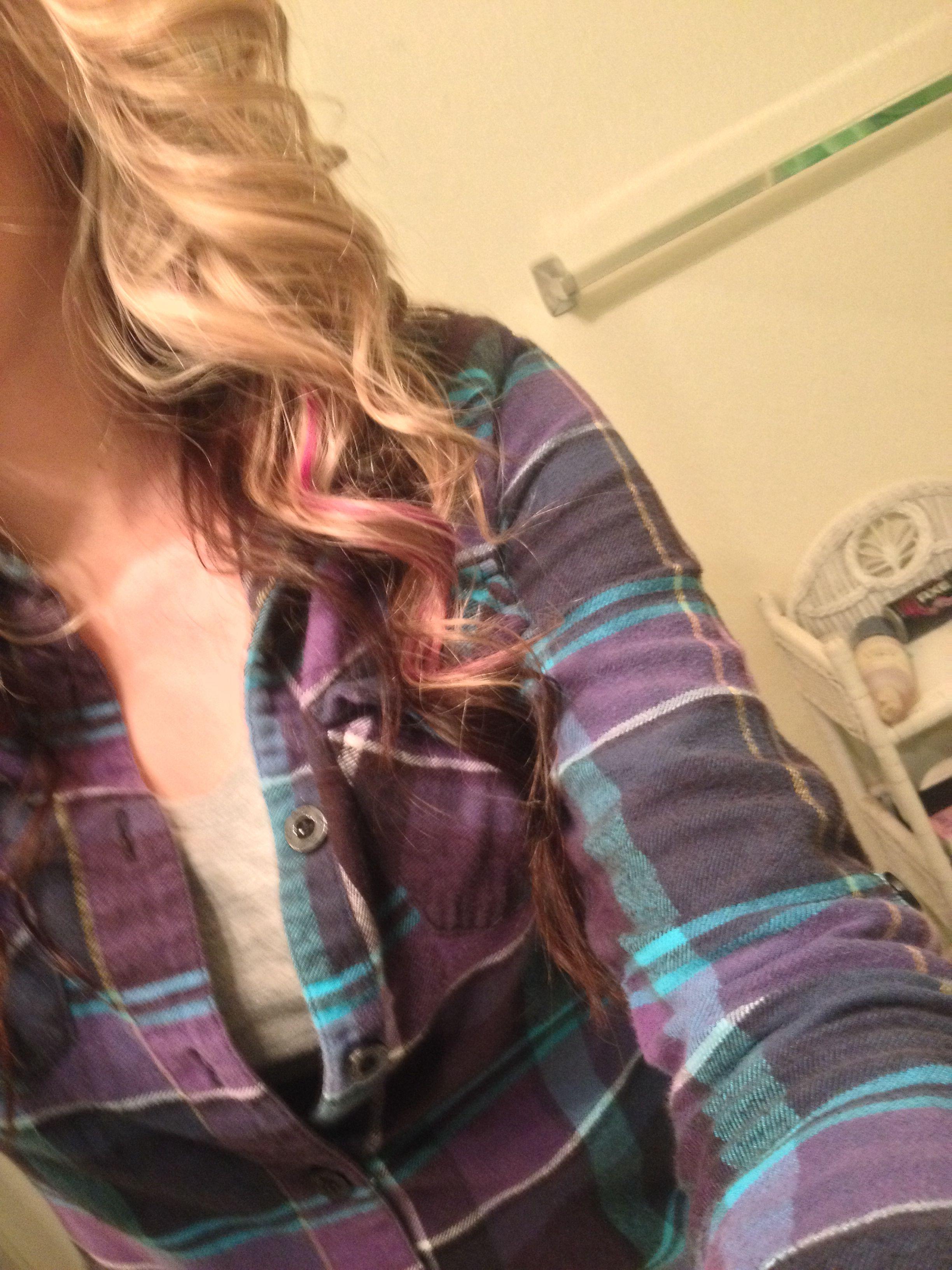 Pink peek-a-boo in my hair. I love it! <3 Jamestown Hair Co.
