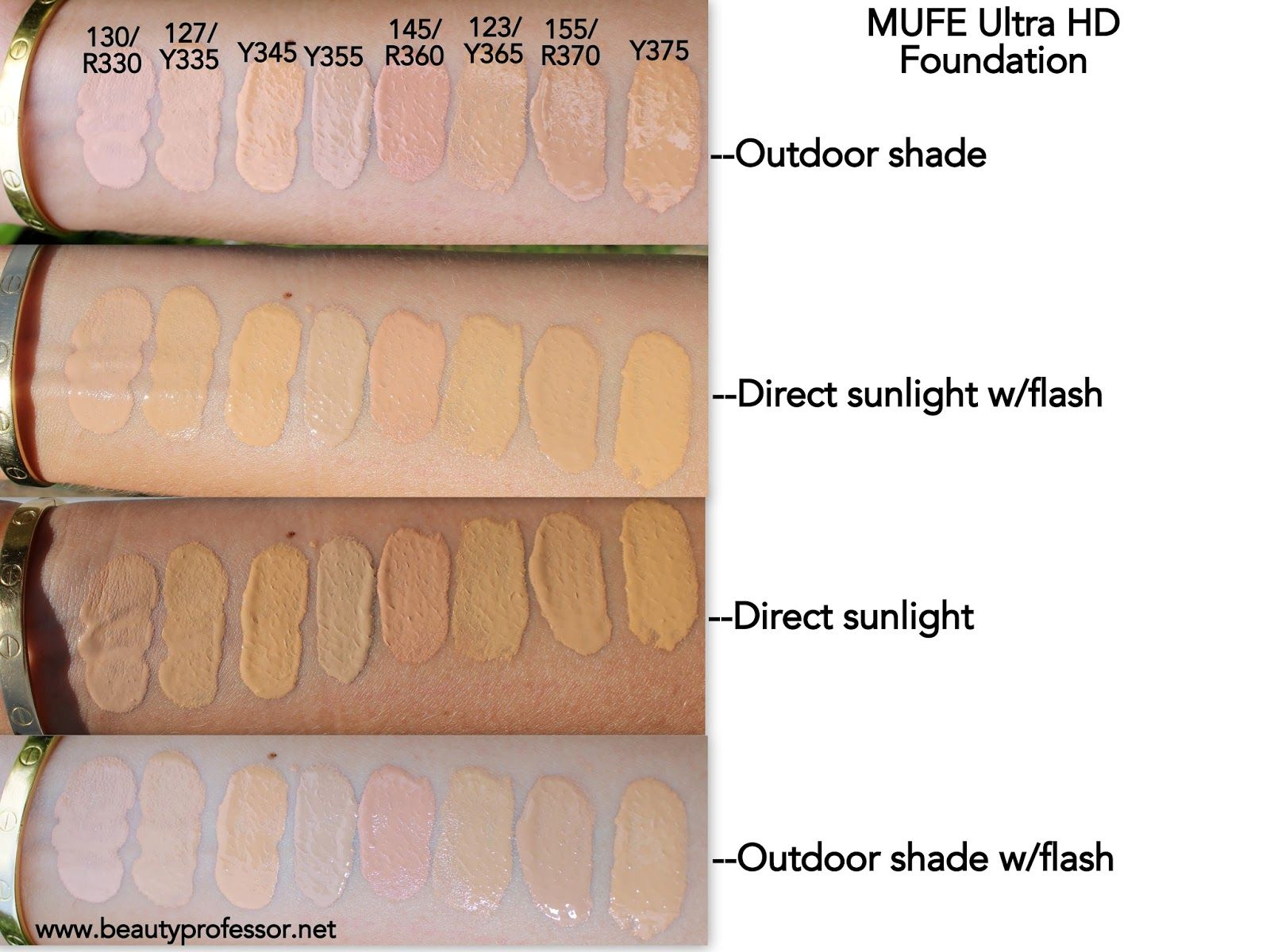 MUFE Ultra HD Invisible Cover Foundation...Swatches of ALL
