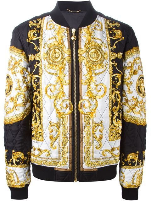 03afc2cdea Shop Versace baroque print quilted bomber jacket in Luisa Boutique ...