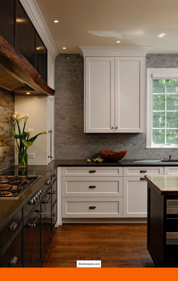 I Like The Gray Brick Backsplash Subtle And A Little Different From What I Ve B Kitchen Cabinets Decor Rustic Farmhouse Kitchen Farmhouse Kitchen Backsplash