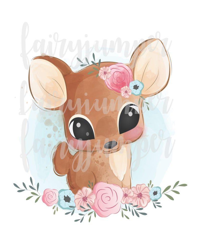 Baby Deer Clipart Fawn Art Baby Deer Watercolorpng Etsy Baby Animal Drawings Cute Animal Drawings Cute Animal Illustration