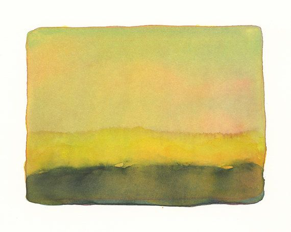 gold and yellow landscape, one of a kind, original watercolor painting