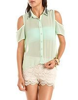Button Down Blouse, Lace Blouse, Trendy Tops, Sheer Chiffon Blouse: Charlotte Russe