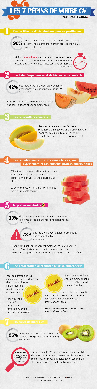 Conseil Cv Les 7 Pepins De Votre Cv Recherche Emploi Redaction De Cv Infographie