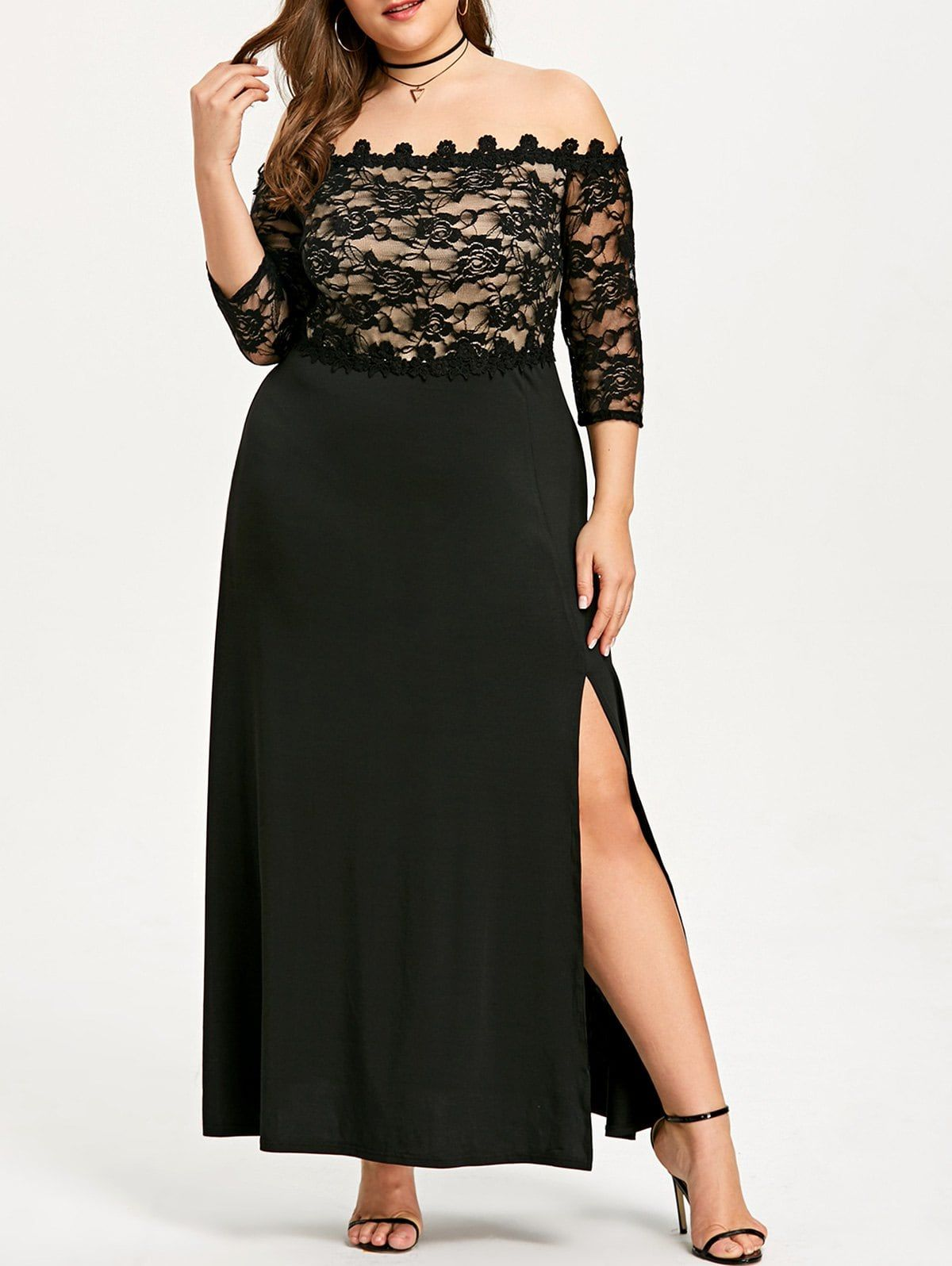 Plus size lace maxi slit prom dress quinceanera pinterest slit