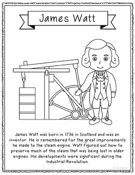James Watt Inventor Biography Coloring Craft Or Poster Stem