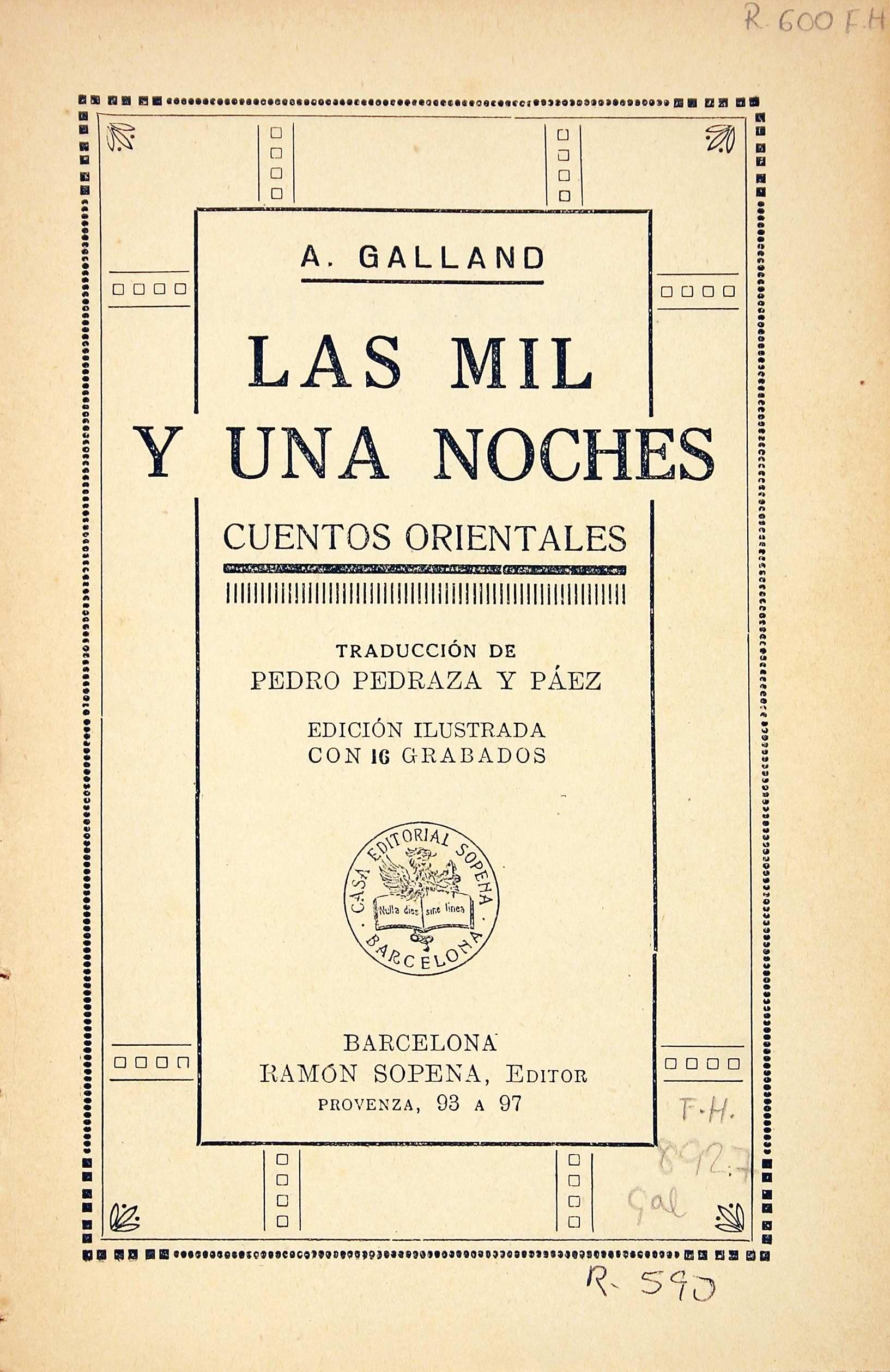 Las Mil Y Una Noches Cuentos Orientales A Galland Traducción De Pedro Pedraza Y Páez 1942 Las Mil Y Una Noches Cuentos Libros Infantiles