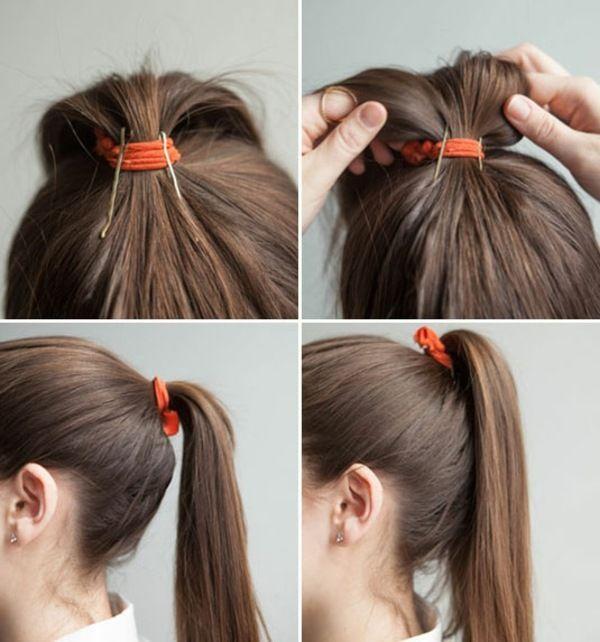 Haarklammer In Den Pferdeschwanz Einsetzen Um Mehr Volumen Zu Erzielen Tolle Frisuren Frisuren Haare