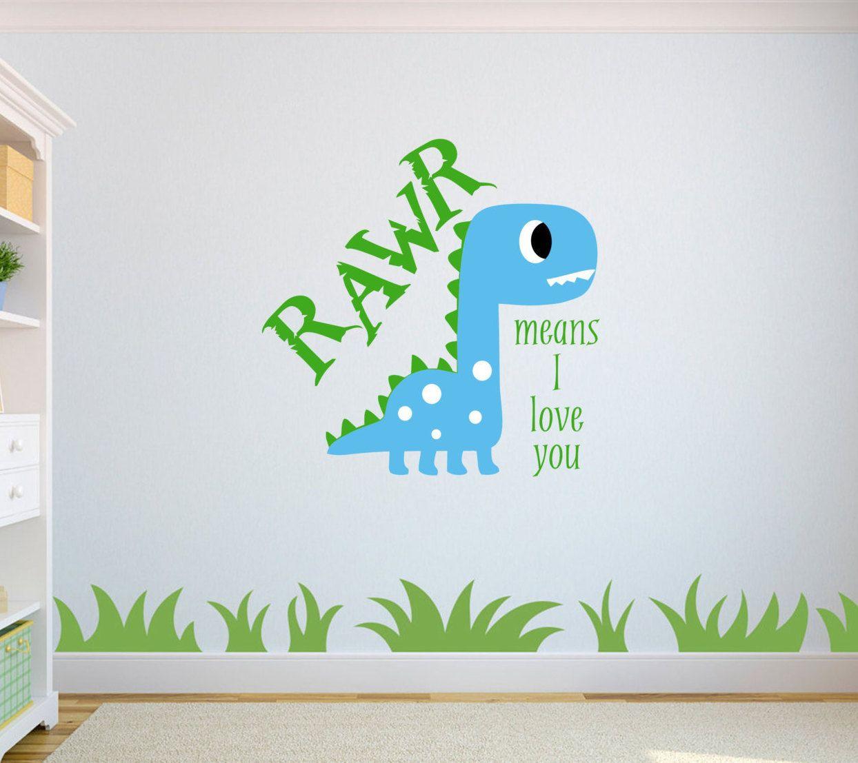 means I love You in Dinosaur wall art vinyl decal sticker children/'s Rawr