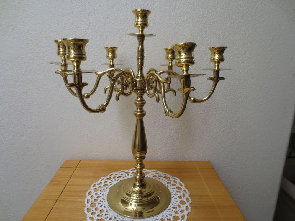 b6a69d75f Details about Vintage Brass Candelabra 5 arm Ornate candle holder 16 ...