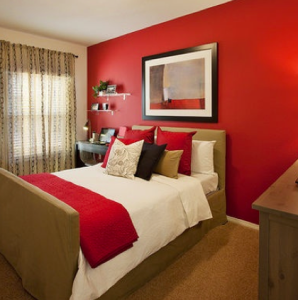 Scarlet Red Accent Wall In Bedroom