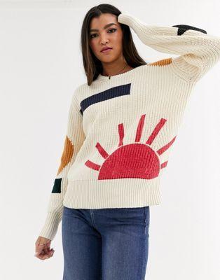 Maison Scotch patterned chunky knit jumper #chunkyknitjumper