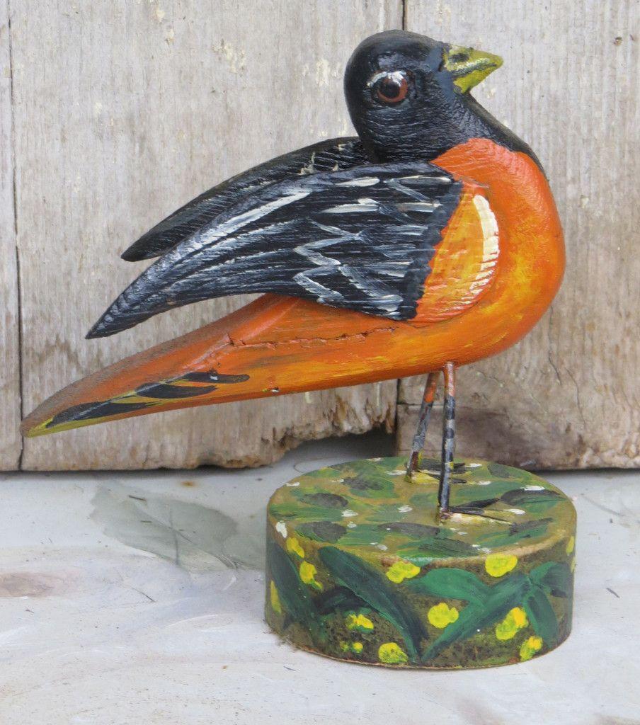 HAND CARVED ORIOLE BIRD DECOY PA Dutch Folk Art Wood Bird Sculpture Distlefink OOAK