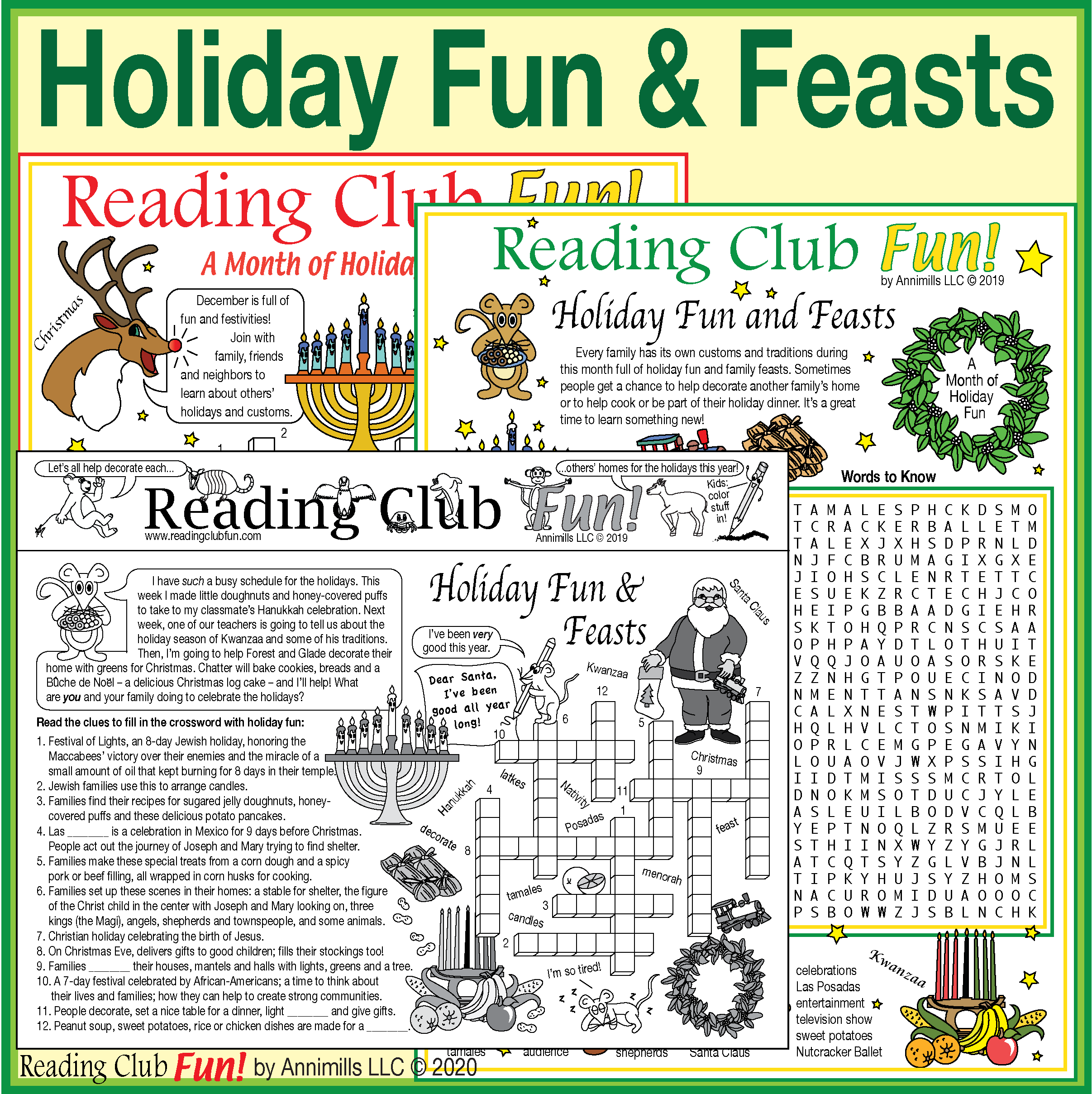Holiday Fun And Feasts Puzzle Set Christmas Hanukkah