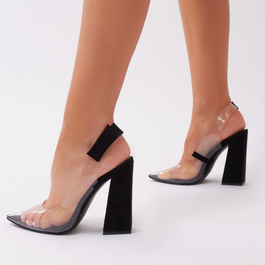 883df22c5a9 Lure Clear Perspex Court Heels in Black Faux Suede | My Style ...