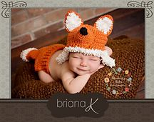 Ravelry: Fox Newborn - 12 Month Hat and Diaper Cover pattern by Briana K Crochet
