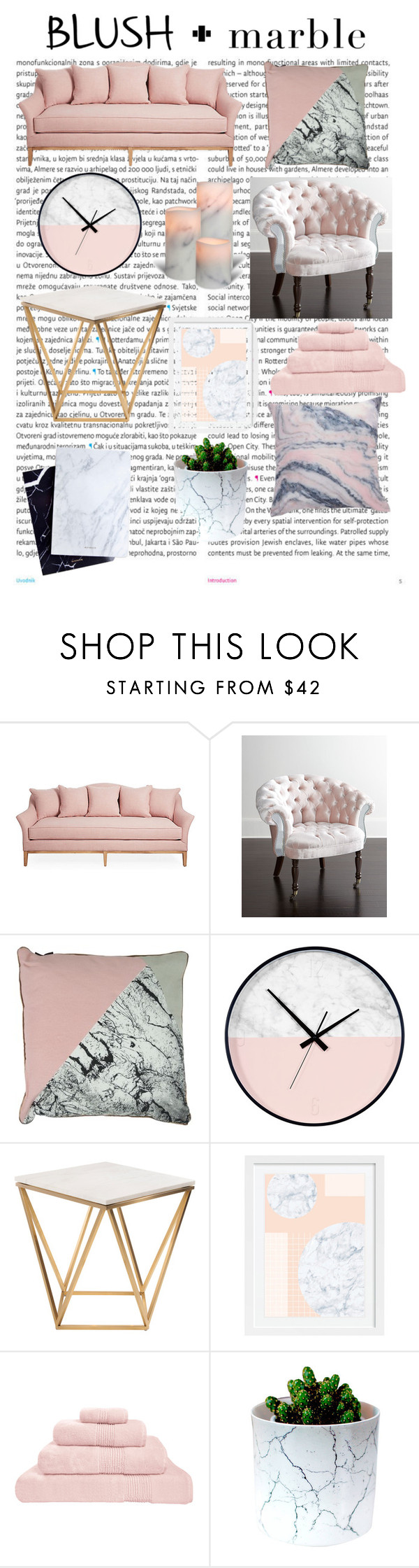 """Blush + Marble"" by emmajxnke ❤ liked on Polyvore featuring interior, interiors, interior design, home, home decor, interior decorating, Oris, Haute House, Nuevo and Hamam"
