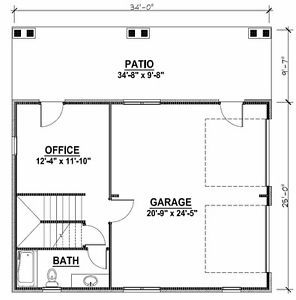 2 Car Garage Plans W Office Loft Covered Porch