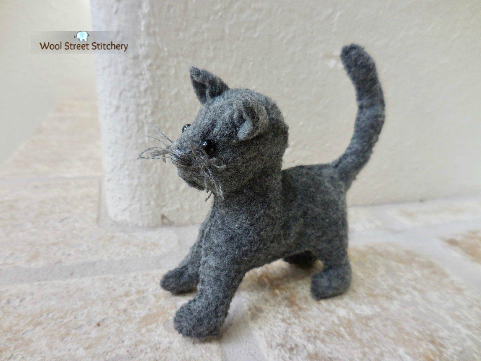 Small Felt Cat Gift For Cat Lover Gray Stuffed Kitten Soft Toy