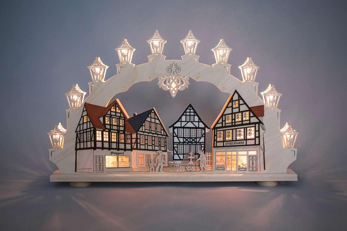 Schwibbogen 15 flg altstadt traditionelle schwibb gen - Fensterbeleuchtung weihnachten ...