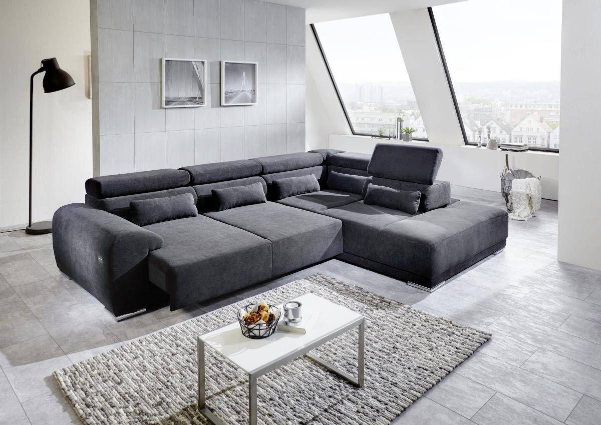 Funktionsecke Padua Schwarz Wohnen Sofa Vorhange Wohnzimmer