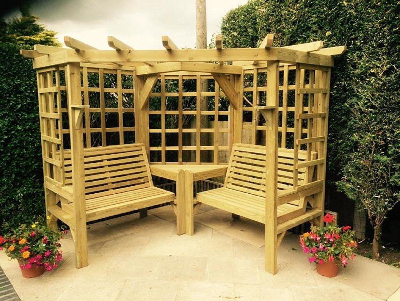 Wooden Garden Furniture Corner Arbour Garden Arbour Seat Pergola ...