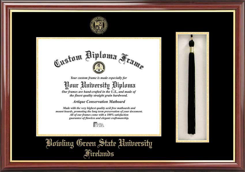 Bowling Green State University Firelands Diploma Frame Gold Medallion Tassel Box Mahogany Diploma Frame University Diploma College Diploma