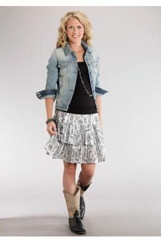 fe32ccf2 Western Wear Skirts for Women   women s skirts black 6711 toile print drop  waist skirt stetson ladies .
