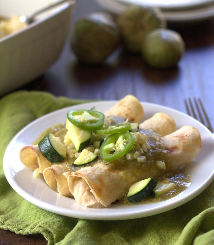 White Bean Enchiladas Verdes with Roasted Corn and Zucchini