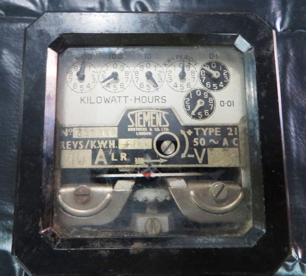 1930s Vtgkilowatt Hours Electric Meter Siemens Brothers Coltd Pad 3 Wiring Diagram London Type 21 Siemensbrotherscoltdlondon