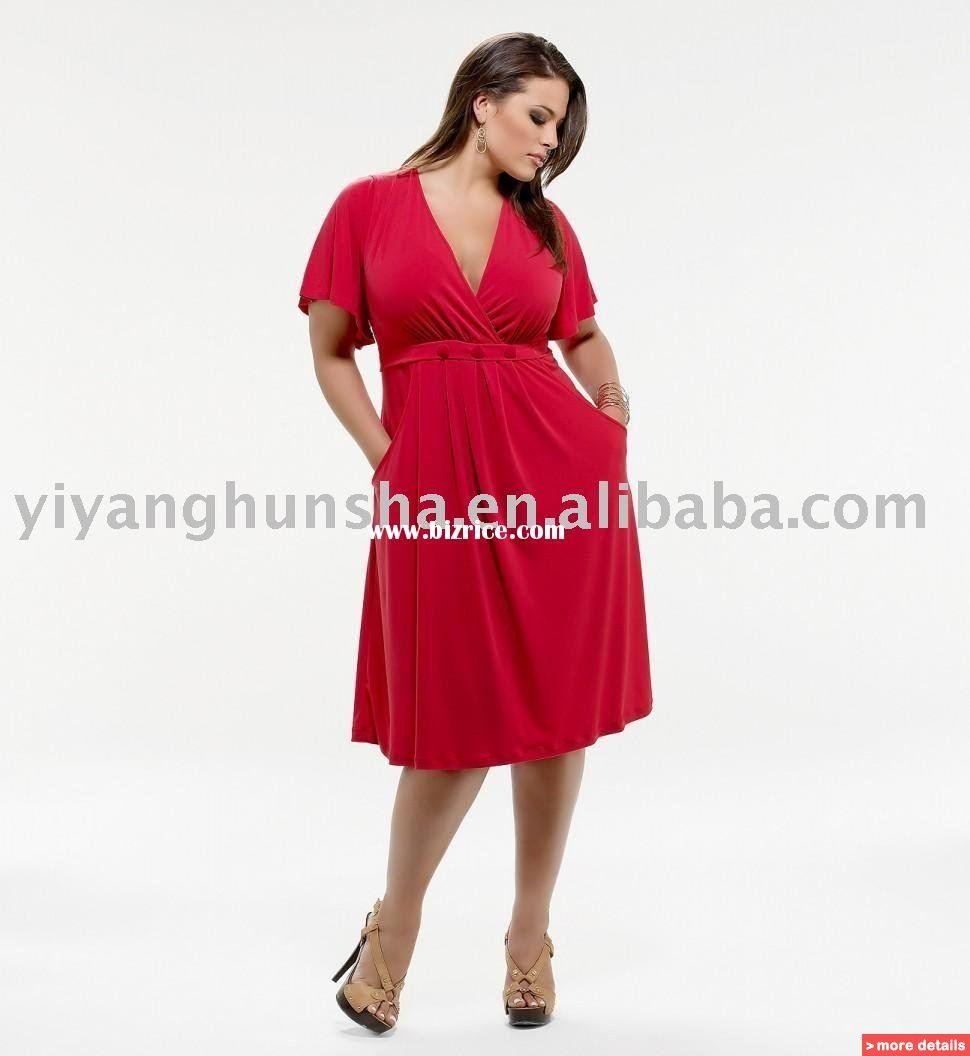Plus size short sleeve cocktail dresses