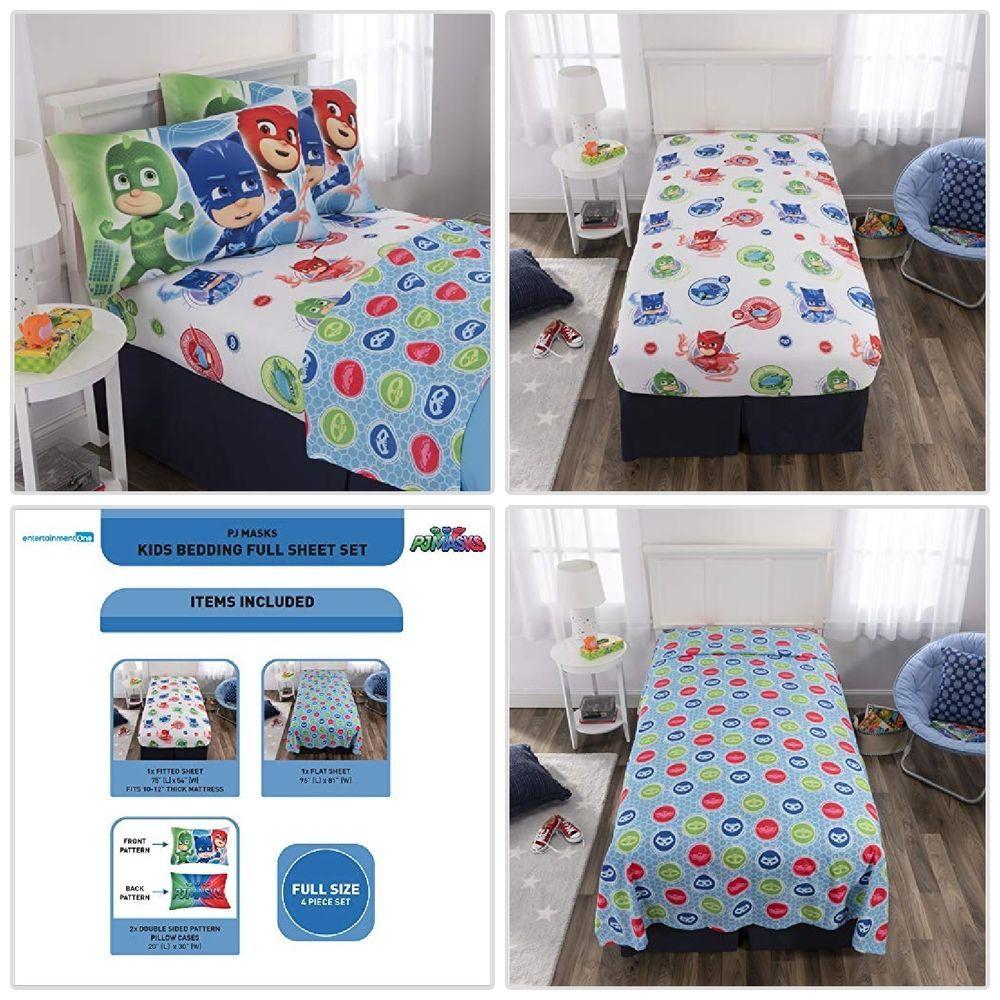 PJ Masks Toddler Bedding Sheet Set Full Size 4Pcs Soft