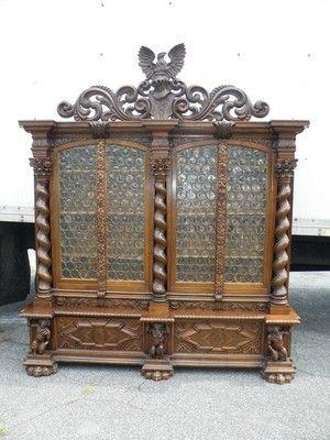 The Best Carved Figural German Antique Eagle Bookcase 05bl134 Antiques Carved Furniture Carving