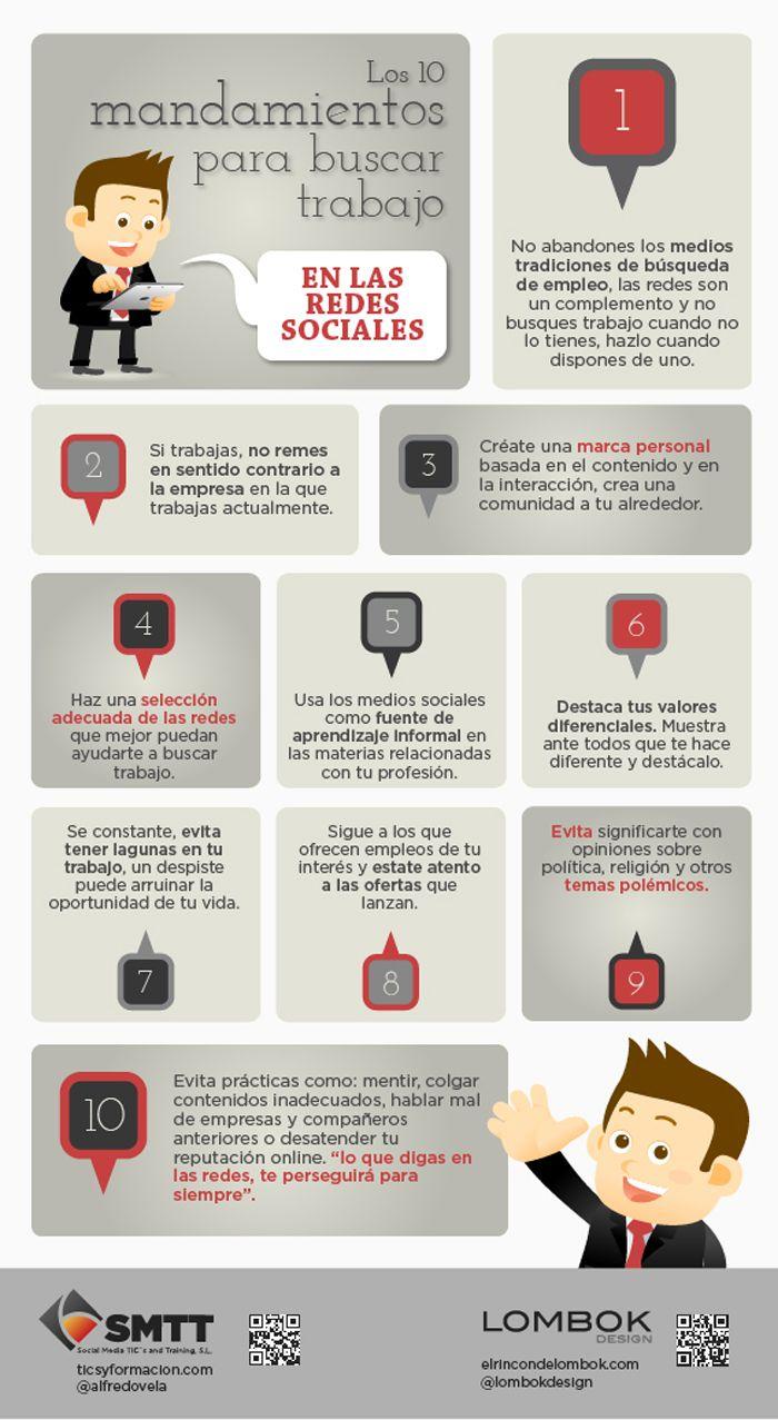 10 Mandamientos Para Buscar Trabajo En Redes Sociales Infografia Infographic Socialmedia Busqueda De Empleo Mercadotecnia En Medios Sociales Como Encontrar Trabajo