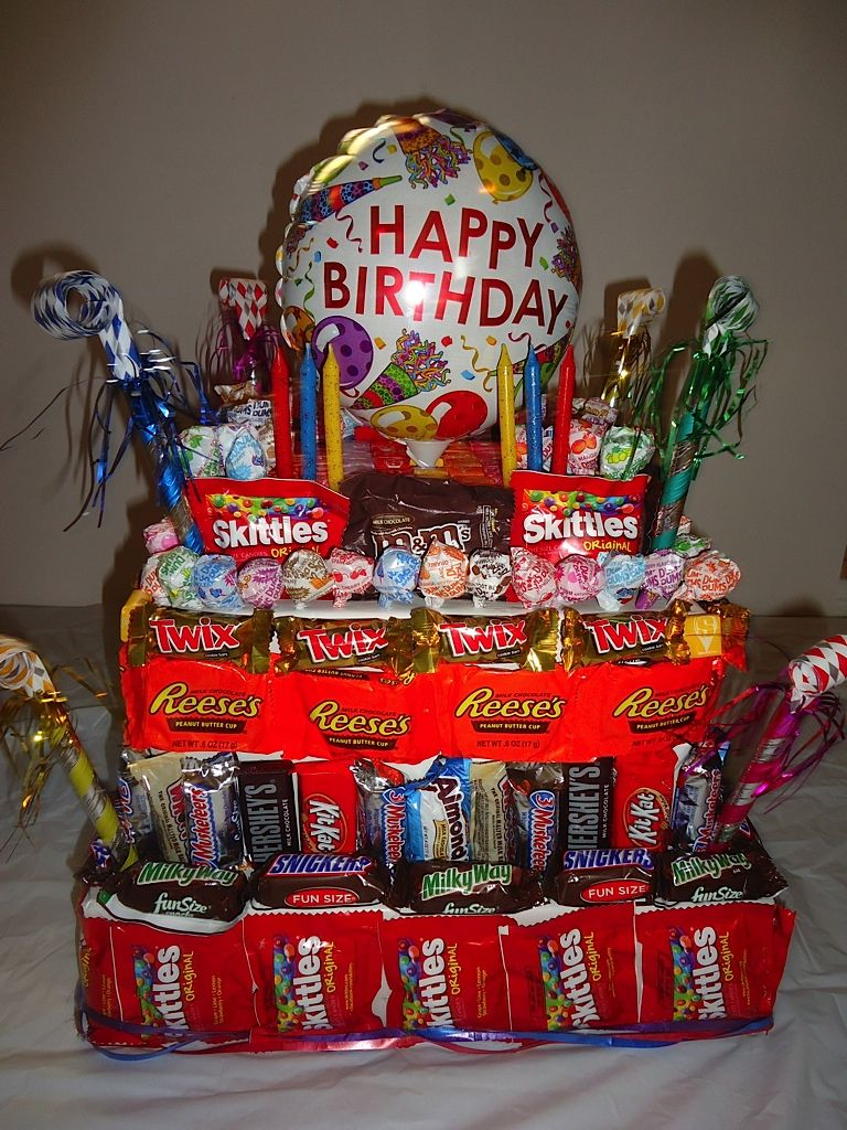 Happy Birthday cake made from 100 Candy Bars. Candy bar