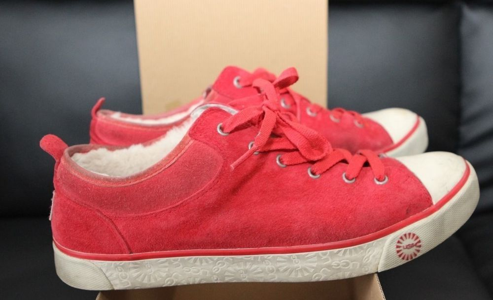 UGG W EVERA 1888 W RDLG SIZE 10 WARM KEDS SNEAKERS BOX WATER RESISTANT RED SUEDE #UGGAustralia #FashionSneakers