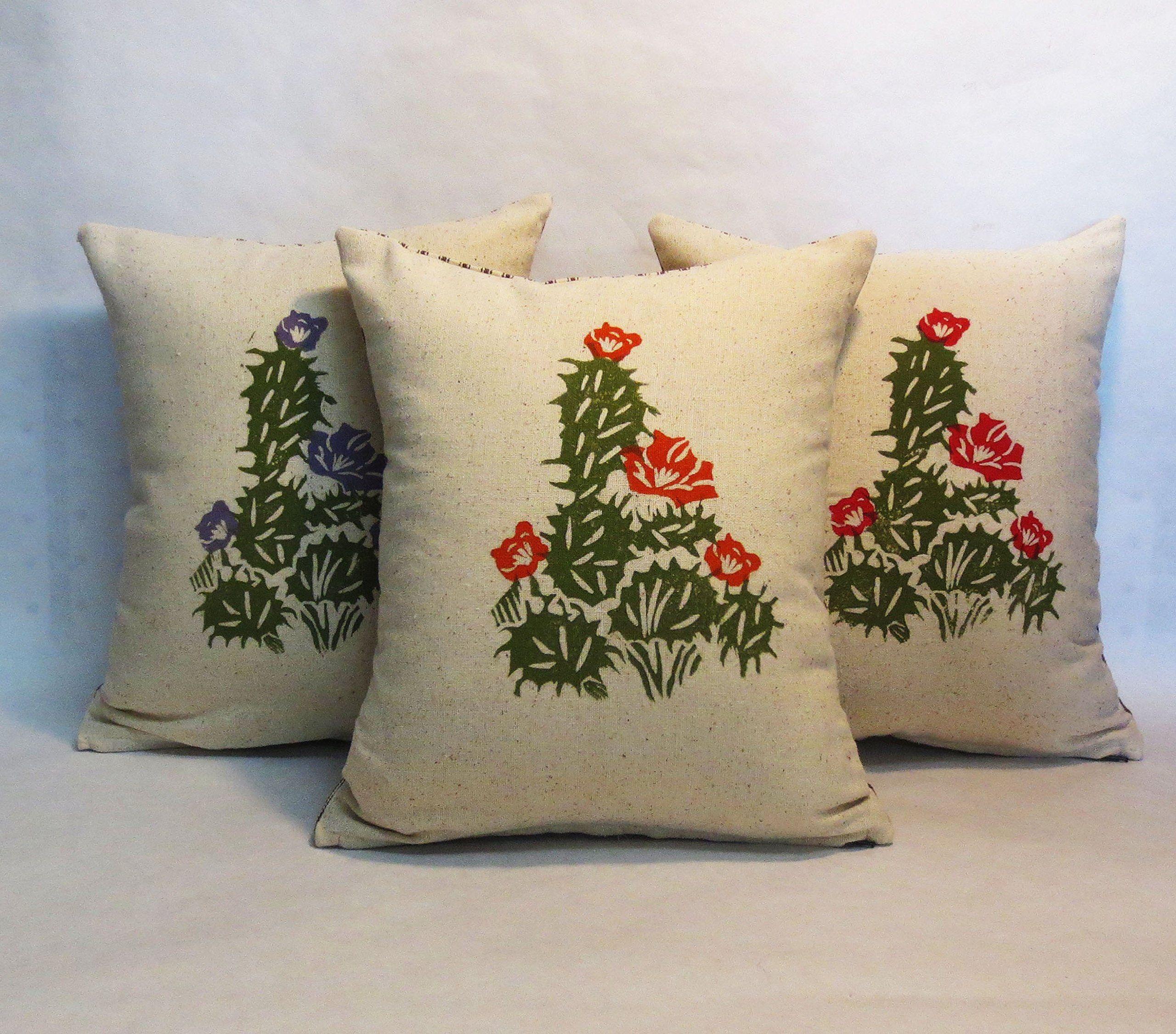 Hand block printed cactus pillow hand block printed cactus desert