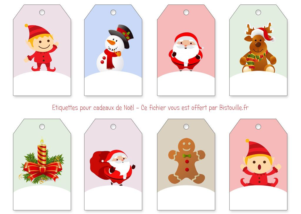 8 étiquettes pour cadeaux de Noël à imprimer et à découper