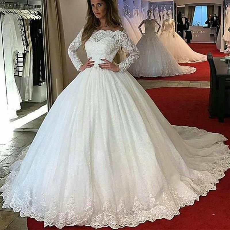 Lp1245 Off The Shoulder Long Sleeves Lace Ball Gown Wedding Dress