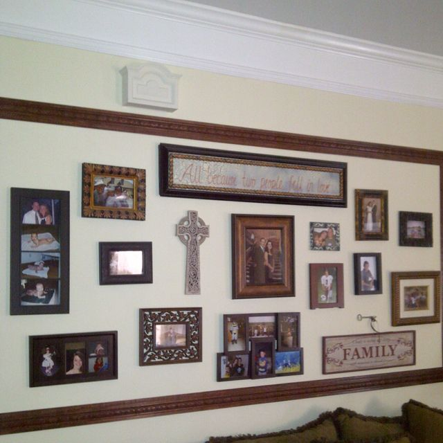 Place pictures and such and surround w a frame. Great idea!!!!