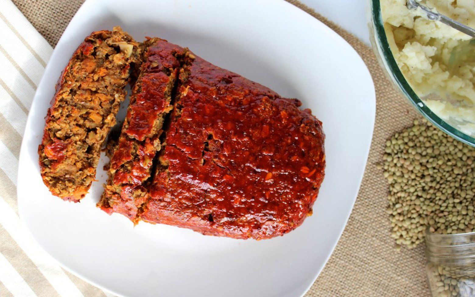 A traditional mushroom lentil loaf with a maple ketchup